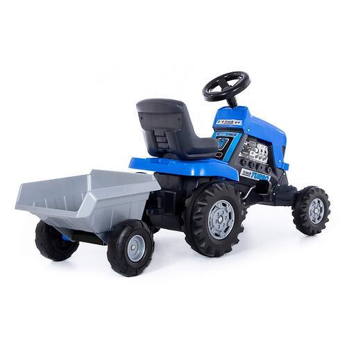 Каталка-трактор с педалями Полесье Turbo Синяя с полуприцепом (8)