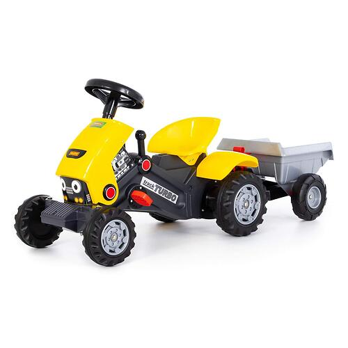 Каталка-трактор с педалями Полесье Turbo-2 Желтая с полуприцепом (6)