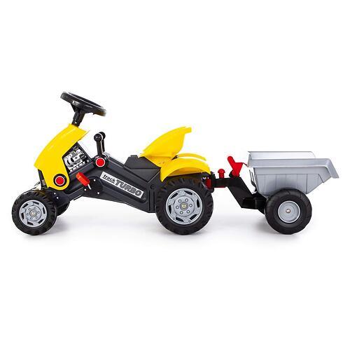 Каталка-трактор с педалями Полесье Turbo-2 Желтая с полуприцепом (7)