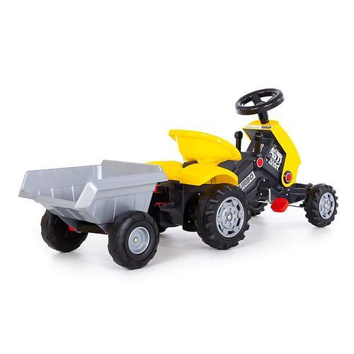 Каталка-трактор с педалями Полесье Turbo-2 Желтая с полуприцепом (8)