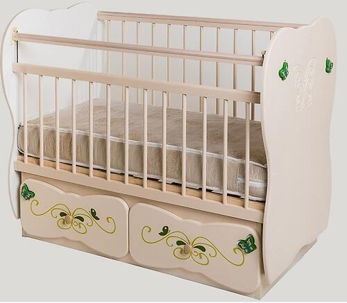 Кровать детская №5 Сафаня МДФ Бабочка маятник Ваниль (1)