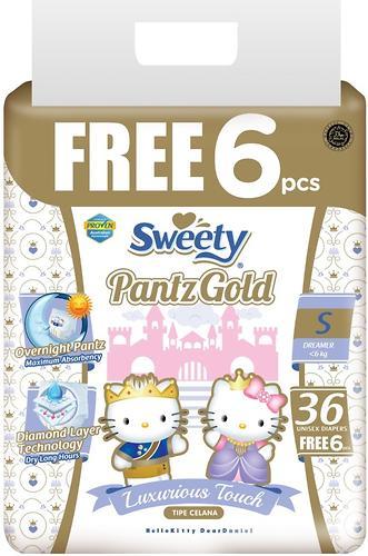 Трусики Sweety Pantz GOLD Size S 3-6 кг 36+6шт (1)