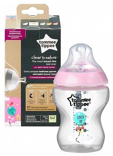 Бутылочка Tommee Tippee 260 мл 0+ Розовая 42250275 (1)