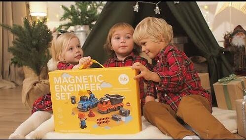 Игрушка дорожная техника с аксессуарами Happy Baby Magnetic Engineer Set Blue and Yellow 331870 (16)